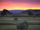 Landscape with Hay Bales at Sunset Photographic Print by Robbie George