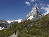 Hikers Below the Matterhorn, Zermatt, Valais, Swiss Alps, Switzerland, Europe Photographic Print by Hans-Peter Merten