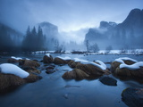 El Capitan and Cathedral Rocks Rise Above the Merced River Photographic Print by Michael Melford