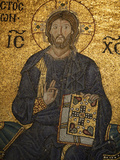Mosaic of Jesus Blessing and Holding the Bible, Hagia Sophia, Istanbul, Turkey, Europe Photographic Print by  Godong