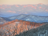 Early Sun on Snowy Blue Ridge Mountains. Mount Pisgah in Distance Photographic Print by Amy & Al White & Petteway