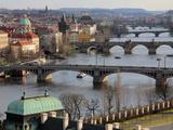 Bridges over the River Vltava, Old Town, Prague, Czech Republic, Europe Photographic Print by Hans-Peter Merten