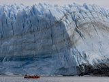 An Excursion Boat From a Cruise Ship Approaches Pio XI Glacier Photographic Print by Maria Stenzel