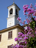 Church Clocktower and Flowers, Cadenabbia, Lake Como, Lombardy, Italy, Europe Photographic Print by Frank Fell