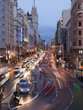 The Gran Via at Dusk, Madrid, Spain, Europe Photographic Print by Angelo Cavalli