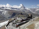 Gornergrat Station and the Matterhorn, Zermatt, Valais, Swiss Alps, Switzerland, Europe Photographic Print by Hans-Peter Merten