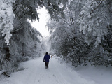 A Person Walking Away on a Snowy Road Photographic Print by Amy & Al White & Petteway