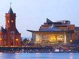 The Senedd (Welsh National Assembly Building) and Pier Head Building, Cardiff Bay, Cardiff, South W Photographic Print by Billy Stock