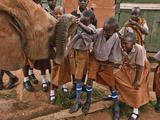 An Elephant Orphan Greets Schoolchildren Visiting Tsavo National Park Fotografisk tryk af Michael Nichols
