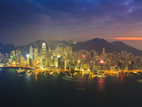 High View of the Hong Kong Island Skyline and Harbour at Sunset, Hong Kong, China, Asia Photographic Print by Amanda Hall