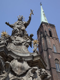 Church of the Holy Cross and Statue, Old Town, Wroclaw, Silesia, Poland, Europe Photographic Print by Frank Fell