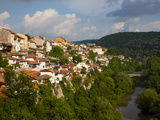Stormy Weather at Dusk over Hillside Houses Above the Yantra River, Veliko Tarnovo, Bulgaria, Europ Photographic Print by Dallas & John Heaton