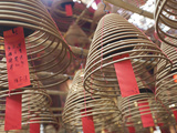Incense Coils Hang from the Roof of the Man Mo Temple, Built in 1847, Sheung Wan, Hong Kong, China, Photographic Print by Amanda Hall