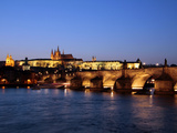 Charles Bridge over the River Vltava, Charles Bridge, UNESCO World Heritage Site, Prague, Czech Rep Photographic Print by Hans-Peter Merten