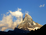White Clouds and the Matterhorn, Zermatt,Valais, Swiss Alps, Switzerland, Europe Photographic Print by Hans-Peter Merten