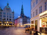 Nikolaj Church and Restaurants at Dusk, Armagertorv, Copenhagen, Denmark, Scandinavia, Europe Photographic Print by Frank Fell
