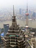High View of Jinmao (Jin Mao) Tower and Oriental Pearl Tower, Shanghai, China, Asia Photographic Print by Amanda Hall