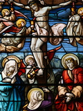 Stained Glass of the Crucifixion, San Jeronimo's Church, Madrid, Spain, Europe Photographie par  Godong