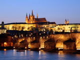 Prague Castle on the Skyline and the Charles Bridge over the River Vltava, UNESCO World Heritage Si Photographic Print by Hans-Peter Merten