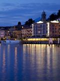 Promenade and Lake at Dusk, Bellagio, Lake Como, Lombardy, Italian Lakes, Italy, Europe Photographic Print by Frank Fell
