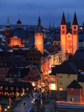 Old Town with Cathedral and Old Main Bridge, Wurzburg, Franconia, Bavaria, Germany, Europe Photographic Print by Hans-Peter Merten