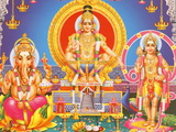 Picture of Hindu Gods Ganesh, Ayappa and Subramania, India, Asia Fotografie-Druck von  Godong