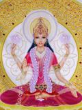 Picture of Lakshmi, Goddess of Wealth and Consort of Lord Vishnu, Sitting Holding Lotus Flowers, Ha Fotografie-Druck von  Godong