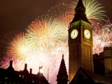 New Year Fireworks and Big Ben, Westminster, London, England, United Kingdom, Europe Photographic Print by Frank Fell