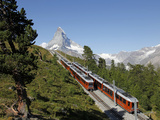 Gornergrat Railway in Front of the Matterhorn, Riffelberg, Zermatt, Valais, Swiss Alps, Switzerland Photographic Print by Hans-Peter Merten