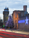 Cardiff Castle with Christmas Lights and Traffic Light Trails, Cardiff, South Wales, Wales, United  Photographic Print by Billy Stock