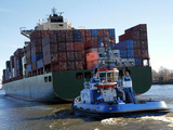 Container Ship on the River Elbe, Hamburg, Germany, Europe Photographic Print by Hans-Peter Merten