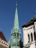St. Peter's Cathedral Spire, Geneva, Switzerland, Europe Photographic Print by  Godong