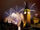 New Year Fireworks and Big Ben, Houses of Parliament, Westminster, London, England, United Kingdom, Fotografie-Druck von Frank Fell
