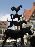 Bronze Statue of Town Musicians of Bremen, Bremen, Germany, Europe Photographic Print by Hans-Peter Merten