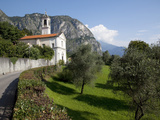 Church and Mountains, Cadenabbia, Lake Como, Lombardy, Italy, Europe Photographic Print by Frank Fell