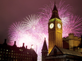 New Year Fireworks and Big Ben, Houses of Parliament, Westminster, London, England, United Kingdom, Photographic Print by Frank Fell