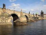 Charles Bridge over the River Vltava, UNESCO World Heritage Site, Prague, Czech Republic, Europe Photographic Print by Hans-Peter Merten
