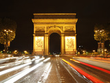 Arc De Triomphe and Champs Elysees at Night, Paris, France, Europe Photographic Print by Hans-Peter Merten