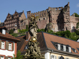View from Kornmarkt to Castle, Heidelberg, Baden-Wurttemberg, Germany, Europe Photographic Print by Hans-Peter Merten