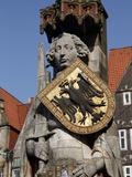 Statue of Roland, Market Square, UNESCO World Heritage Site, Bremen, Germany, Europe Photographic Print by Hans-Peter Merten