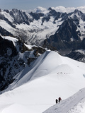Climbers on Mont Blanc, Aiguille Du Midi, Mont Blanc Massif, Haute Savoie, French Alps, France, Eur Photographic Print by Angelo Cavalli
