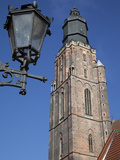 St. Elisabeth Church and Lamp, Old Town, Wroclaw, Silesia, Poland, Europe Photographic Print by Frank Fell