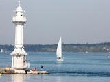 Leman Lake Lighthouse, Lake Geneva, Geneva, Switzerland, Europe Photographic Print by  Godong