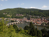 River Neckar, Old Bridge, Old Town and Castle, Heidelberg, Baden-Wurttemberg, Germany, Europe Photographic Print by Hans-Peter Merten