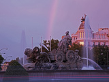 Plaza De Cibeles with Fuente De Cibele at Dusk, Madrid, Spain, Europe Photographic Print by Angelo Cavalli