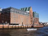 River Elbe and Buildings at Grovue Elbstravue, Hamburg, Germany, Europe Photographic Print by Hans-Peter Merten
