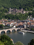 Old Bridge over the River Neckar, Old Town and Castle, Heidelberg, Baden-Wurttemberg, Germany, Euro Photographic Print by Hans-Peter Merten