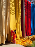 Woman in Sari Checking the Quality of Freshly Dyed Fabric Hanging to Dry, Sari Garment Factory, Raj Lámina fotográfica por Gavin Hellier