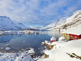 Snow Covered Mountains, Boathouse and Moorings in Norwegian Fjord Village of Ersfjord, Kvaloya Isla Photographic Print by Neale Clark