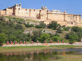 Elephants Taking Tourists to the Amber Fort Near Jaipur, Rajasthan, India, Asia Photographic Print by Gavin Hellier